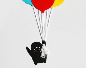 Flying with Balloons, Paper Cut Illustration