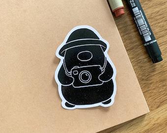 Photographer Penguin Sticker | Cute Penguin Sticker | Matte Sticker | Kawaii Sticker | Die Cut Sticker | Cute Stationery