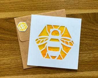 Bee Card | Confetti card | Greeting Card | Cute Penguin Card | Penguin Celebrating | Kawaii Card