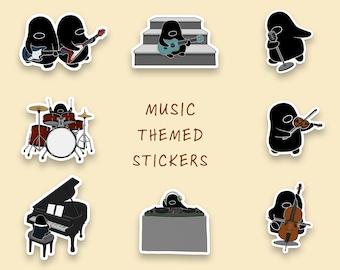 Penguin Music Sticker Set | Drums | Piano | Ukulele | Guitar | Bass | Cello | Violin | DJ | Singer | Cute Sticker | Matte Sticker | Die Cut