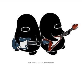 Penguin Music Prints and Sticker Set- Drums, Piano, Ukulele, Guitar, Bass, Cello, Violin, DJ, Singer