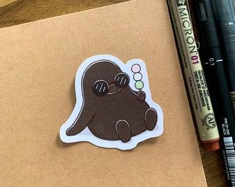 Eating Dango | Tri-colour Dango | Cute Penguin Sticker | Matte Sticker | Kawaii Sticker | Die Cut | Cute Stationery | Japanese Food