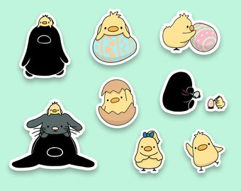 Easter Sticker Set | Bunny, Chick and Penguin | Cute Sticker | Matte Sticker | Kawaii Sticker | Die Cut Sticker | Cute Stationery