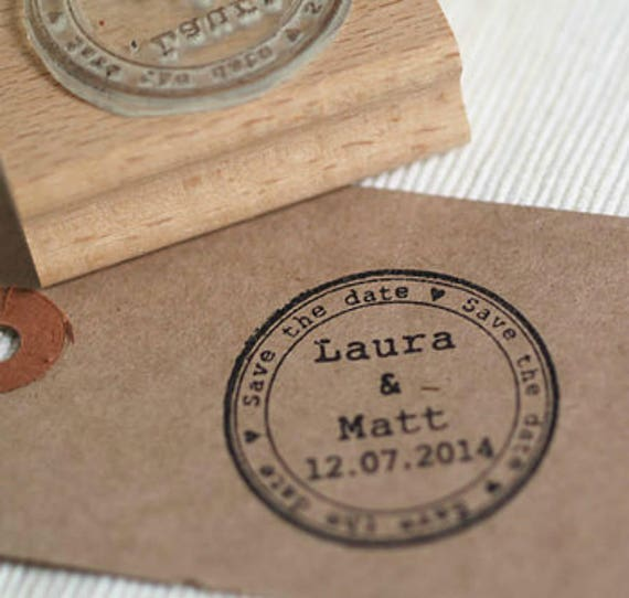 Round Save The Date Personalised Custom Rubber Stamp Wedding Stamp