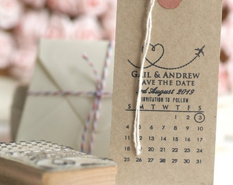 Save The Date Rubber Stamp with Airplane and Calendar Design