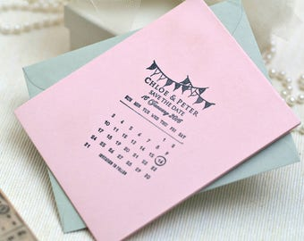 Save The Date Rubber Stamp, Calendar Bunting Wedding Stamp