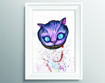 Cheshire Cat, Watercolour, Disney Alice in wonderland Print.