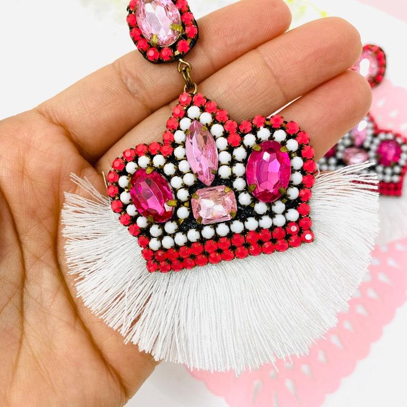 Crown Charm Princess earrings handmade princess jewelry Queen crown earrings Statement Earrings Amazing Earrings royal queen earrings