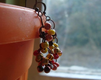 Handmade cluster earrings in autumn colored beads, autumn earrings, autumn colors, autumn jewelry, cluster jewelry