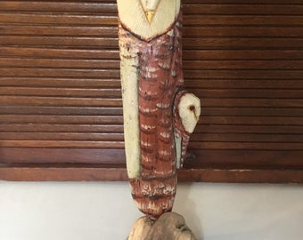 Handcarved Driftwood Standing Barn Owl with Baby