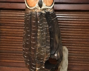 Hand carved Driftwood Great Horned Owl