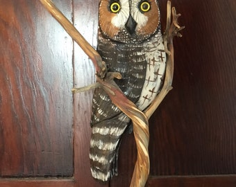 Handcarved Driftwood Hanging Long Eared Owl with Branch