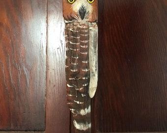 Handcarved Driftwood Great Horned Owl