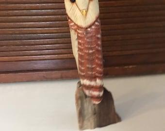 Handcarved Driftwood Standing Barn Owl