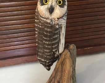 Handcarved Driftwood Standing Long Eared Owl