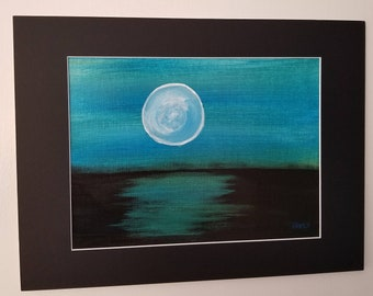"""Blue Moon Painting 16""""x 12"""""""