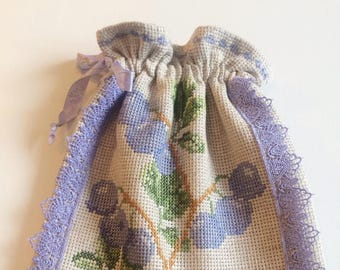 "Kitchen storage bag ""Blueberry"" / Linen storage bag for tea, herbs, sweets"