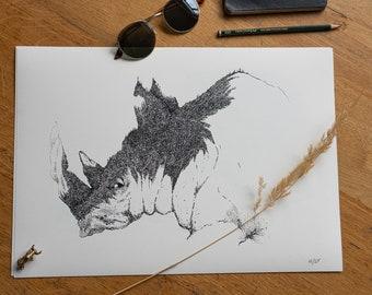 Encadrée Imprimer-Vintage 1515 image d/'un Rhino Photo Poster Art animal sauvage