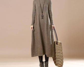 Women Long Sleeved Sweater Khaki