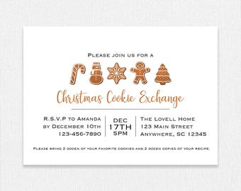 Cookie Exchange Invitation, Cookie Christmas Swap Invitation, Cookie Exchange Party Invite, Printable Holiday Invite, Customizable
