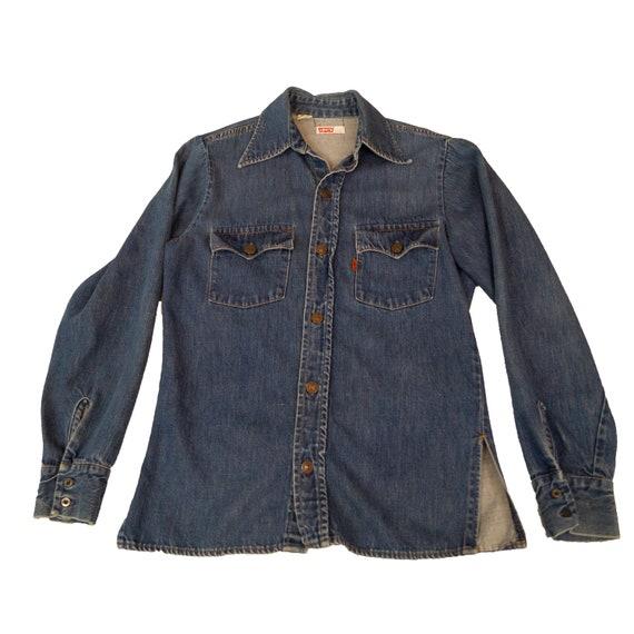 Vintage 1970s Levis Denim Button Shirt Small Orang