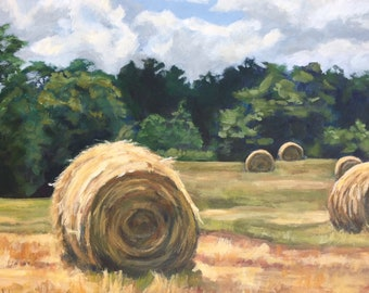 EVENING SUNSET HARVEST HAY STACKS GRAIN FIELDS PAINTING REAL CANVASART PRINT