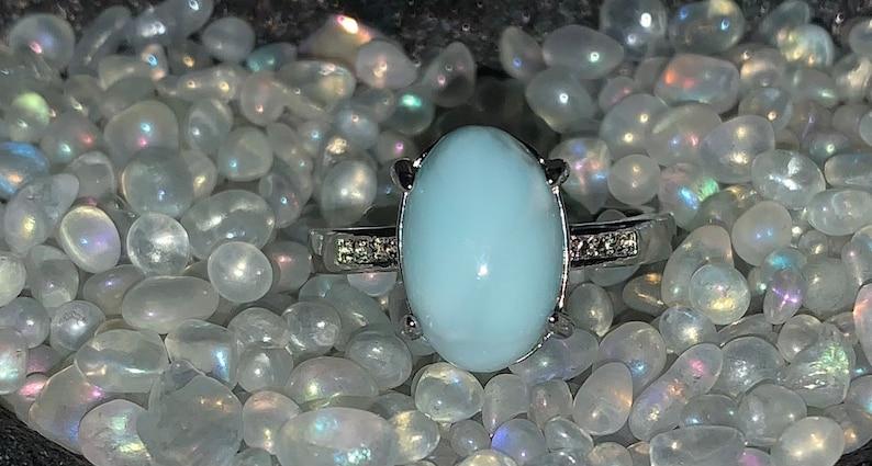 Oval Larimar Ring \u2022 Adjustable copper band \u2022 throat chakra \u2022 communication