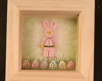 Lego inspired pink Easter bunny framed art