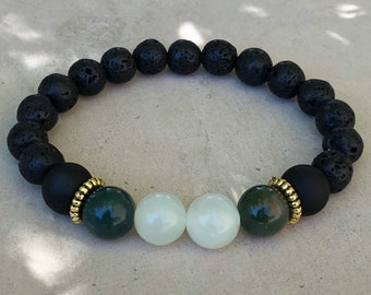 African Jade and lava bead bracelet.