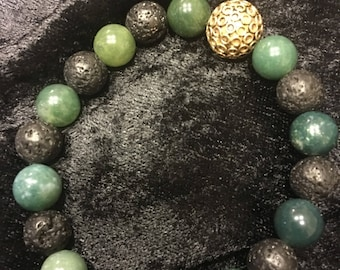 Jade and Lava gemstone Bracelet.