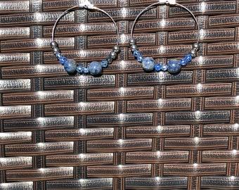 Sodalite and blue crystal earrings.