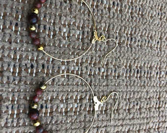 Jasper and gold earrings