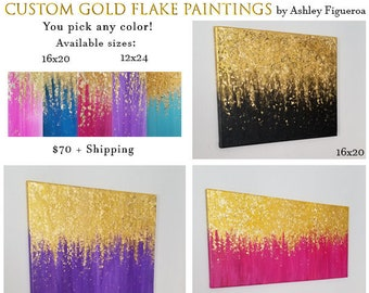 Custom Gold Flake Acrylic Painting - Vibrant - Textured - Ready to Hang - Various Sizes - 16x20 - 12x24 - Choose any color!