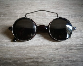 f75f1bbe135 Vintage 1910s 1920s Wellsworth American Optical Spectacles with Sun-Clip    Sunglasses   Rare Item   Tortoise