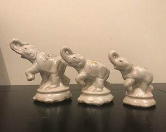 Vintage Set of Three Opalescent Elephants with Hand Painted Backs