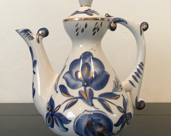 Beautiful Blue Floral Teapot with Gold Accents