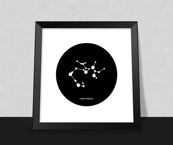 Sagittarius Star Sign Poster Minimal Start Sign Poster Etsy