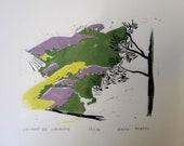 Champs de lavande en Drôme provençale (26) -- Linogravure imprimée à la main, série limitée numérotée et signée par l'artiste