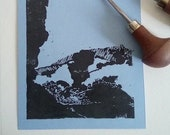 Les Mourres, Forcalquier -- Linogravure