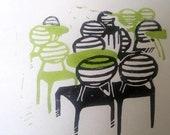 """Estampe """"Hommage à Chris Deards"""" - édition limitée - linogravure en deux couleurs imprimée à la main"""