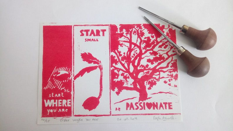 start WHERE you are  Linogravure image 0