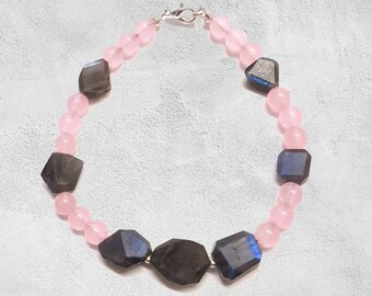 Rose Quartz And Labradorite Bracelet