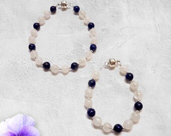 Moonstone And Lapis Lazuli Matching Bracelets for Mother And Baby or Baby Necklace Set