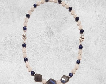 Moonstone, Lapis Lazuli Matching Bracelets or Combined Necklace