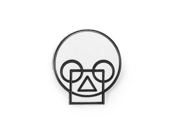 Geometric Skull White Enamel Pin