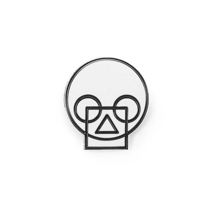 Geometric Skull White Enamel Pin image 0