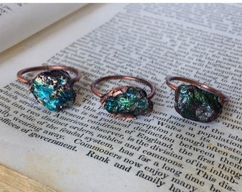 46088bd3eeee Peacock Ore Ring / Raw Peacock Ore Ring / Raw Stone Ring / Raw Crystal Rings  / Peacock Ore Rings / Stone Rings / Teal Rings / Teal Ring