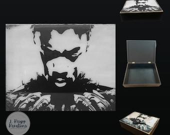 Custom Superhero Memory Box, Wooden Keepsake Box, Gift for Him, Unique Gift, Men's Storage, Comic Book Fan, Comic Book Themed Gifts
