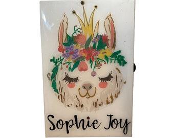 Llama Love Jewelry Box • Wood Box • Llama Gift • Llama Baby Shower • Llama Party • Llama Gift Box • Tween Gift • Baby Gift • Personalized