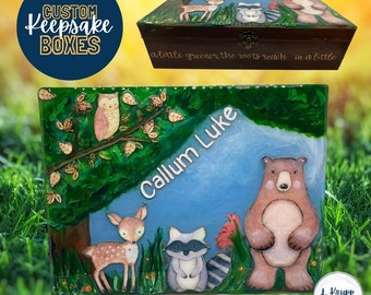 Personalized Newborn Keepsake Box, Memory Box for Children, Custom Memory Box, Woodlands Memory Box, Personalized Baby Shower Gift